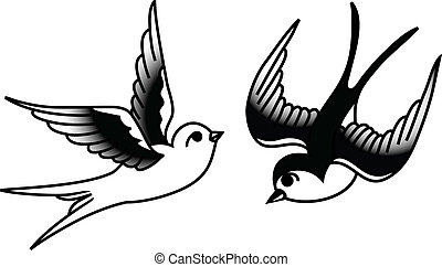 Tattoo-style drawing of birds.