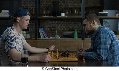 songeur, échecs, joueur, pensée, sur, jeu, stratégie