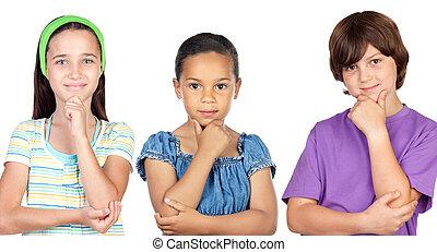 songeur, enfants, trois
