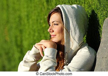 songeur, pensée, adolescent, patineur, portrait, girl, vue côté