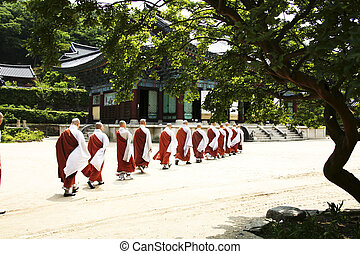 Songgwangsa temples in south korea, monk