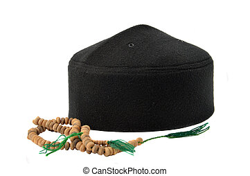 songkok, a traditional hat for male Muslim on white...