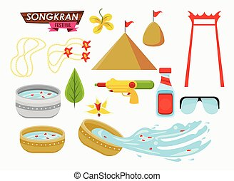 songkran celebration party set icons