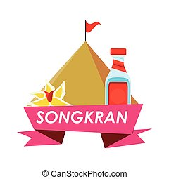 songkran festival ribbon frame icon