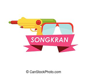 songkran festival ribbon with goggles and gun water