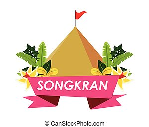 songkran festival ribbon with mountain and flowers