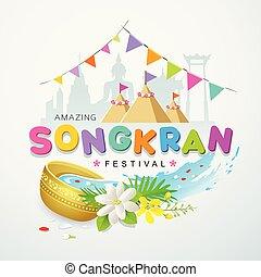 Songkran festival water splash colorful of Thailand