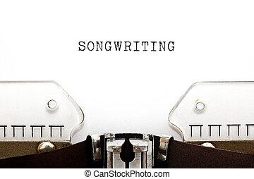 songwriting, pojęcie, retro, maszyna do pisania