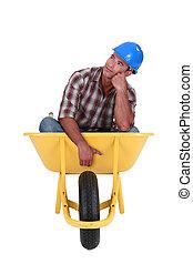 sonhador, carrinho de mão, trabalhador, sentando