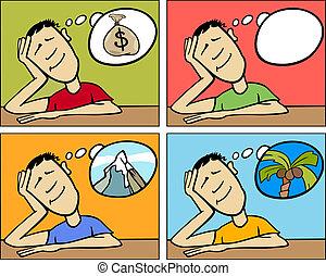 sonhar, conceito, caricatura, ilustração, homem