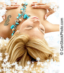sonhar, loura, cama, com, snowflakes