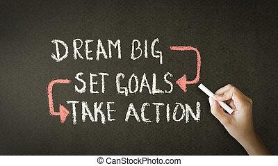 sonho, grande, jogo, metas, tomar, ação, desenho giz