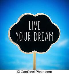 sonho, texto, viver, chalkboard, seu, vignetted