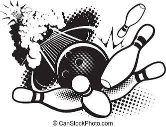 A bowling ball breaking the sound barrier and smashing into pins