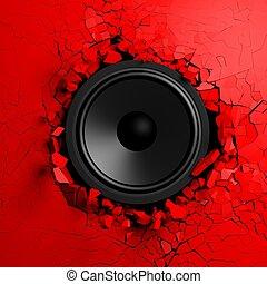 sonido, altavoz, pared, se estropea, ilustración, rojo