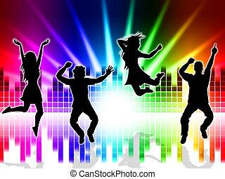 sonido, bailando, pista, emoción, indica, música