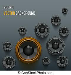 sonido, cargamaento, altavoces, en, oscuridad, fondo.