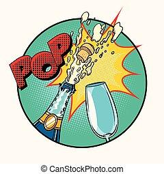 sonido, champaña, taponazo, apertura