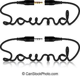 sonido, conectores, vector, gato, caligrafía