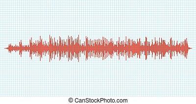 sonido, diagram., vibración, gráfico, seismogram, terremoto, seismometer, ondas, sísmico, actividad, richter, o