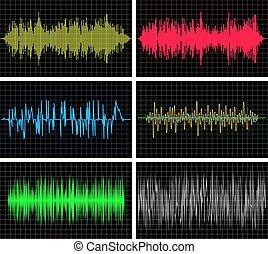 sonido, fondos, pulso, vector, música, ondas, audio