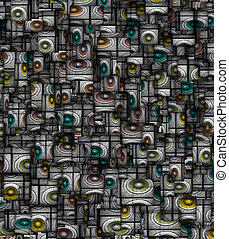 sonido, fragmentado, resumen, sistema, 3d