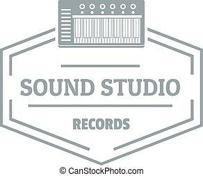sonido, gris, estilo, simple, estudio, logotipo
