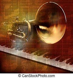 sonido, grunge, resumen, plano de fondo, piano, trompeta