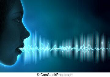 sonido, ilustración, onda