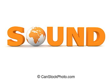 sonido, mundo, naranja
