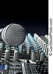 sonido, parte, michrophone, batidora, audio