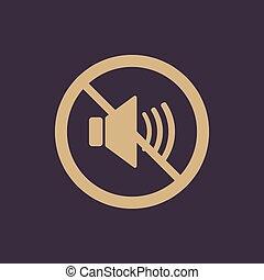 sonido, plano, de, no, símbolo., volumen, icon.