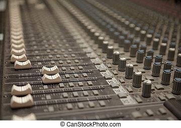 sonido, polvoriento, mixer., foco, dos, faders