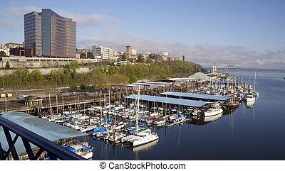 sonido, Puente,  puget,  murray, mañana,  morgan,  Tacoma, vista