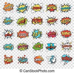 sonido, réplicas, o, discurso, burbujas, cómico