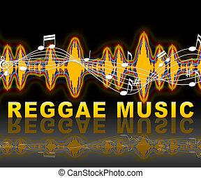sonido, reggae, calypso, medios, pistas, música, o