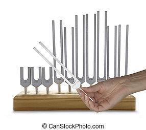 sonido, utilizar, tenedores, curación, afinación