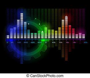 sonido, vector, espectro, analizador, onda