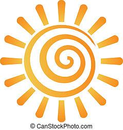 sonne, abstrakt, spirale, bild, logo