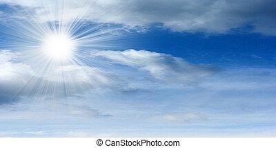 sonne, auf, der, himmelsgewölbe