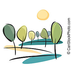 sonne, bäume, ansicht, park, vektor