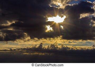 sonne, bricht, wolkenhimmel, durch