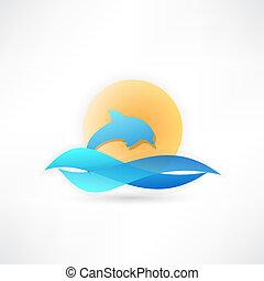 sonne, delfin, hintergrund, ikone