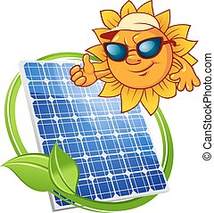 sonne, karikatur, solarmodul