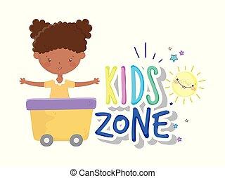 sonne, kinder, fuhrwerk, m�dchen, zone, karikatur, reizend, wenig