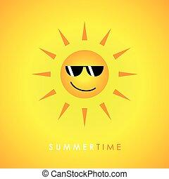 sonne, lächeln, sonnenbrille, hintergrund, gelber