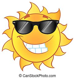sonne, lächeln, sonnenbrille