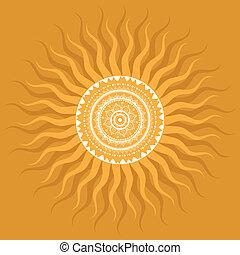 sonne, mandala., pattern.