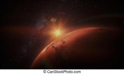 sonne, planet, hintergrund, mars, an, ansicht