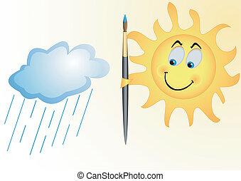 sonne, regnen wolke